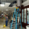 Globe/T. Rob Brown<br /> Joplin R8 School District employees cleanup the aftermath of a school shooting at Memorial Middle School Monday afternoon, Oct. 9, 2006.<br /> Section: News