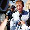 Globe/T. Rob Brown<br /> Gov. Matt Blunt speaks to media just outside Memorial Hall near Memorial Middle School Monday morning, Oct. 9, 2006, following a shooting at the school.<br /> Secton: News