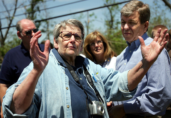 The Joplin Globe/T. Rob Brown<br /> Kay Hively of Neosho, Mo., and member of the Battlefield Association that oversees the Ritchey Mansion, explains the damages and restoration needs for the mansion to Congressman Roy Blunt Monday afternoon, May 12, 2008, in Newtonia, Mo.