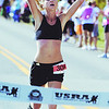 Globe/T. Rob Brown<br /> Katie Kramer, of Oklahoma City, heads toward the finish line as she wins the women's division of the full Mother Road Marathon Sunday morning, Oct. 10, 2010, at the Joplin Athletic Complex near Schifferdecker Park.