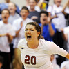Globe/T. Rob Brown<br /> Joplin's Julia Lewis shows her enthusiasm, as does the crowd behind her, as Joplin closes in on a win in the first game of the set against Carthage Tuesday night, Sept. 13, 2011, at Joplin Memorial High School's gymnasium.