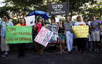 People manifests for free expression for feminists, gays and marijuana consumers during the Liberty March in Copacabana, Rio de Janeiro, Brazil, June 18, 2011. The Brazilian Supreme Court approved past June 15, 2011, that demonstrations favoring the legalization of marijuana are an exercise of free expression and do not encourage people to consume marijuana.(Austral Foto/Renzo Gostoli)