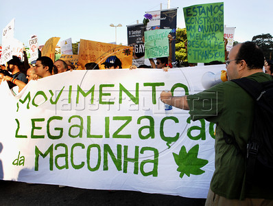 People manifests for free expression for feminists, gays and marijuana consumers during the Liberty March in Copacabana, Rio de Janeiro, Brazil, June 18, 2011.The Brazilian Supreme Court approved past June 15, 2011, that demonstrations favoring the legalization of marijuana are an exercise of free expression and do not encourage people to consume marijuana. (Austral Foto/Renzo Gostoli)