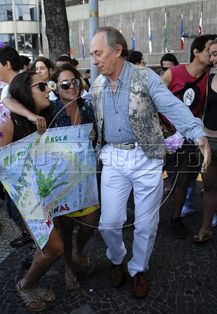 Brazil,s deputy and former environment ministerCarlos Minc dances during the Liberty March in Copacabana, Rio de Janeiro, Brazil, June 18, 2011. The Brazilian Supreme Court approved past June 15, 2011, that demonstrations favoring the legalization of marijuana are an exercise of free expression and do not encourage people to consume marijuana.(Austral Foto/Renzo Gostoli)