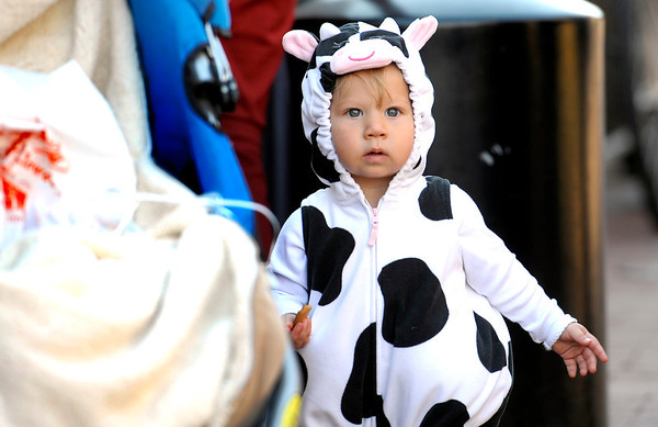 Lucy Davis, 14 months, looks at all the costumes during the Munchkin Masquerade on the Pearl Street Mall in Boulder, Colorado October 31, 2011.  CAMERA/Mark Leffingwell