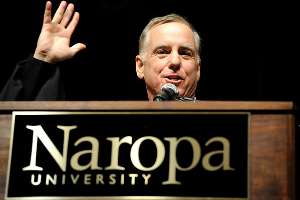 """Former Governor of Vermont and presidential candidate Howard Dean speaks to the crowd during Naropa's commencement ceremony on Saturday, May 7, at the Macky Auditorium on the University of Colorado campus in Boulder. For more photos and video go to  <a href=""""http://www.dailycamera.com"""">http://www.dailycamera.com</a><br /> Jeremy Papasso/ Camera"""