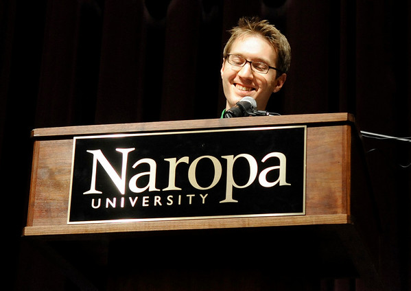 "Naropa University Master of Arts graduate and student speaker Kyle Pivarnik speaks to his fellow classmates during Naropa's commencement ceremony on Saturday, May 7, at the Macky Auditorium on the University of Colorado campus in Boulder. For more photos and video go to  <a href=""http://www.dailycamera.com"">http://www.dailycamera.com</a><br /> Jeremy Papasso/ Camera"