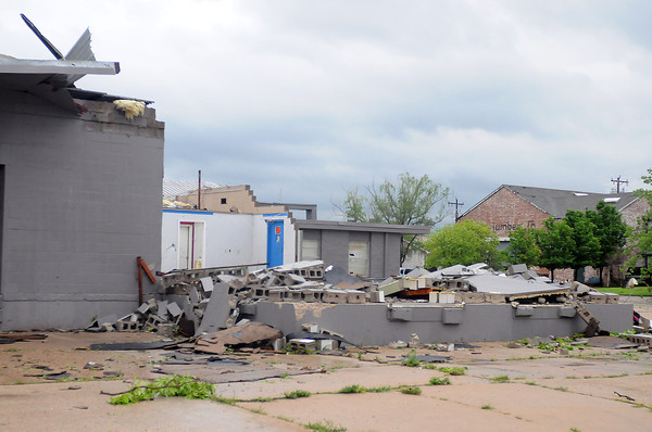 This building at Jones Ave. and Tonhawa St. was destroyed Friday, April 13, 2012, after a tornado skipped through Norman. Photo by Jerry Laizure