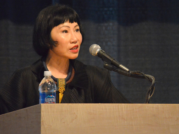 "Amy Tan, author of ""The Joy Luck Club"", speaks at the Sam Noble Museum on the University of Oklahoma campus during the Big Read event Friday.<br /> Transcript Photo by Kyle Phillips"