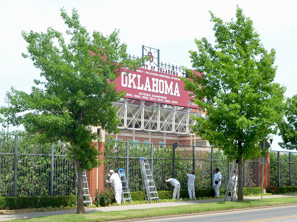 Facility maitenance workers form the University of Oklahoma paist the fence that surrounds the practice field at Oklahoma Memorial Stadium Wednesday afternoon.<br /> Transcript Photo by Kyle Phillips