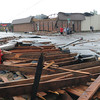Part of the  roof on this building at Hughbert St. and Porter Ave. was blown off Friday, April 13, 2012,  after a tornado skipped through Norman. Photo by Jerry Laizure