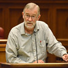 Retired CIA analyst Ray McGovern gives a lecture at the Dick Bell Courtroom at the OU College of Law Sunday afternoon about misinformation in the Iraq War and  heading off war with Iran.<br /> Transcript Photo by Kyle Phillips