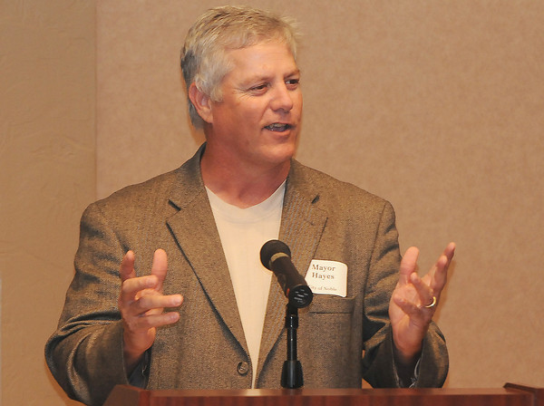 Noble mayor Gary Hayes discusses Tuesday, April 10, 2012, how Noble became a certified healthy community during a conference at Norman Regional Hospital sponsored by the Oklahoma Hospital Association. Noble is one of four communities in the state that is certified healthy. Photo by Jerry Laizure