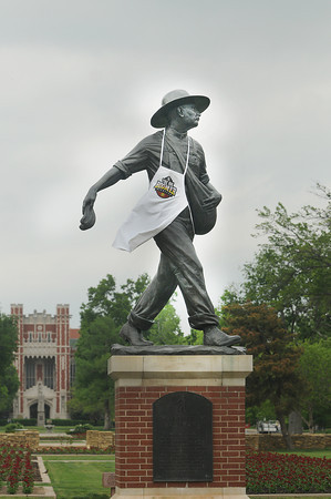 The Seed Sower on Van Vleet Oval is ready for the first annual Big Boomer Barbecue to be held prior to Saturday's Red-White game. The event, featuring four fan zones, is scheduled to start at 8 a.m. beginning with a merchandise sale. Also on tap is the BBQ zone featuring meat from area vendors. Cost for the BBQ zone is $10 with sides and drinks additional. Autograph sessions with various OU teams and past Sooners are also scheduled. Kickoff for the Red-White game is 2 p.m. Photo by Jerry Laizure