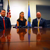 From left to right; Chris Hines, Cheif Director of the U.S. Marshall Service West Okla. Division, Meghan McCormick, Cleveland County Sheriff's Office public information officer, and Callen Stephens, Task Force Coordinator for the U.S. Marshall's Office, give a press conference on an arrest and to update public on fugitive search.<br /> Kyle Phillips/The Transcript