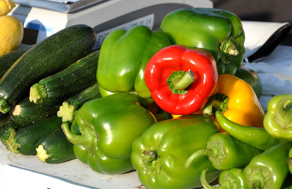 Cucumbers and peppers are some of the popular produce that is sold at the Farmers Market at the Cleveland County Fairgrounds on Wednesdays and Saturdays from 9 to noon. Julie Bragg/ The Transcript