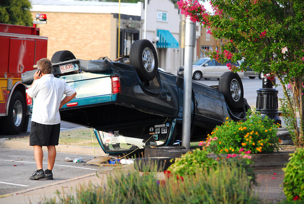 A truck is left upside down  after a two-vehicle accident on Peters Ave. and Grey Street Saturday evening.  No one was injured in the accident.<br /> Kyle Phillips/The Transcript