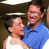 Darry Stacy and his son Heath celebrate Stacy's win over Randy Terrill, Tuesday, June 26, 2012, in the Republican primary race for Cleveland County Commissioner District 2. Jerry Laizure / The Transcript