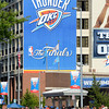 Thousands of basketball fans pack the area in front of Chesapeake Energy Arena Tuesday night to participate in Thunder Alley before Oklahoma City's game against the Miami Heat in game one of the NBA Finals.<br /> Kyle Phillips/The Transcript