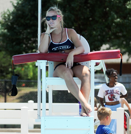 Lifeguard Mackenzie McLellan watches swimmers at the Westwood pool. Jerry Laizure / The Transcript