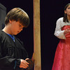 Thomas Houser, left, checks his lines as he and  Providence Andrews play thier parts as Romeo and Juliet for the play that the students of McKinley Elementary School are putting on.<br /> Transcript Photo by Kyle Phillips