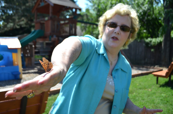 Cathy Bowden holds a butterfly on her hand as she tries to keep it from flying away Wednesday afternoon.<br /> Kyle Phillips/The Transcript