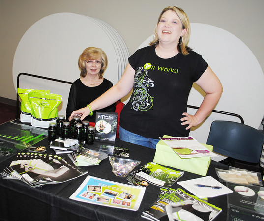 "Robin Franks sells ""It Works"" weight loss and fitness products. She was one of several vendors who attened the AWBA meeting at the library earlier this week. Transcript Photo by Joy Hampton"