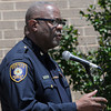 Norman police cheif Keith Humphrey addresses attendees Friday, May 18, 2012, at the 2012 Law Enforcement Memorial Service at the fallen officer memorial in front of the Norman Police Department. Photo by Jerry Laizure