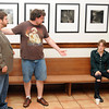 """Namron Players, a new theatre company in Norman, will premiere """"The Taylor Trap"""" May 16, 17, and 18. Rehearsing the play are Nicholas Bartell (left) as Masterson and Colin Ryan as Taylor and Lia Ross as Felicia. Photo by Jerry Laizure"""