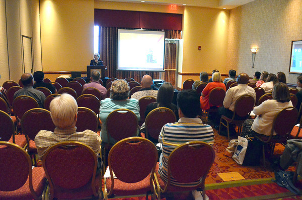 "Conference attendees sit in on a lecture during the 37th Annual Oklahoma Conference on Aging ""Secrets of Aging: Hidden Treasures"" Wednesday at the Embassy Suites.<br /> Kyle Phillips/The Transcript"