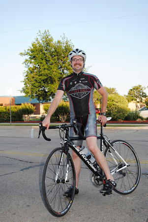 Stephen Swanson of Norman has been comuting by bike to work three days a week for the past year. The 22 mile commute equals big savings on gasoline and maintains Swanson's fitness level while keeping his carbon footprint low. Transcript Photo by Joy Hampton