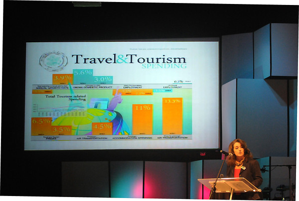 """Maura Gast, executive director of Irving Convention and Visitors Bureau, told Norman hoteliers, business executives and city leaders Tuesday, May 8, 2012, that attracting visitors to the city is a good economic investment. """"What visitors do for our communities is provide immediate cash,"""" Gast said. <br /> Visitors bring immediate cash and unbiased word-of-mouth recommendations for your city. Photo by Jerry Laizure"""