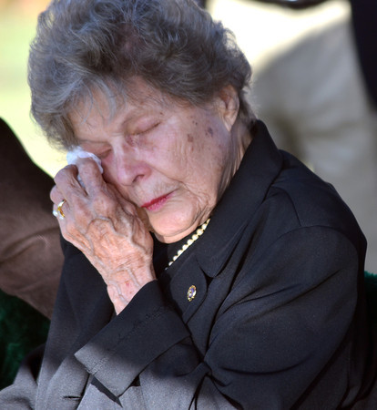 Annie Whited wipes a tear from her eye as her husband  Army Maj. James Lafayette Whited is finally laid to rest Friday at Sunset Memorial Park after being missing for 46 years after his plane was shot down over Laos during the Vietnam War.<br /> Kyle Phillips/The Transcript