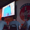 Thunder fans watch game two of the NBA Finals on the big screen at Cthe Brewhouse Thursday evening.  The bar hosted a watch party for fans that didn't want to travel to the city for the game.<br /> Kyle Phillips/The Transcript