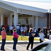 A line streches out the door at Providence Church as voters in Moore wait to cast their ballots for the election Tuesday afternoon.<br /> Kyle Phillips/Transcript