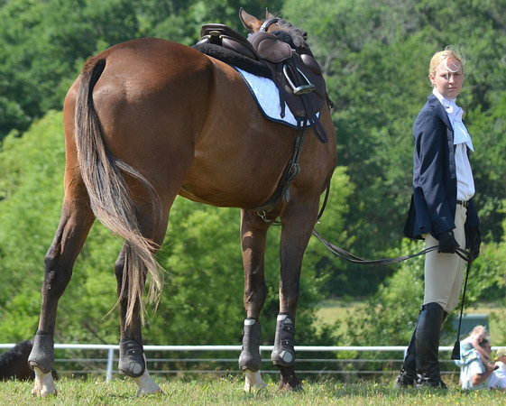 A competitor stands with her horse as she waits for her turn to compete Saturday at the competitive horse show at Feather Creek Farms.<br /> Kyle Phillips/The Transcript