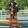 Shelby Bradley and her horse La Grenwee jump an obsticle  Saturday at the competitive horse show at Feather Creek Farms.<br /> Kyle Phillips/The Transcript