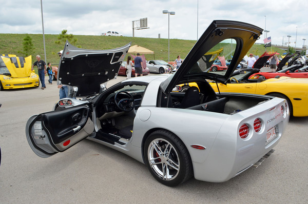 Kent Hunt's 2000 Chevy Corvette sits on display at the Non Club Club of Oklahoma's All Corvette Show at Marc Heitz Chevrolet Saturday afternoon.<br /> A variety of Corvettes ranging from early models to current versions  were on display at the event, showing the how far the car has come in its design<br /> Kyle Phillips/The Transcript
