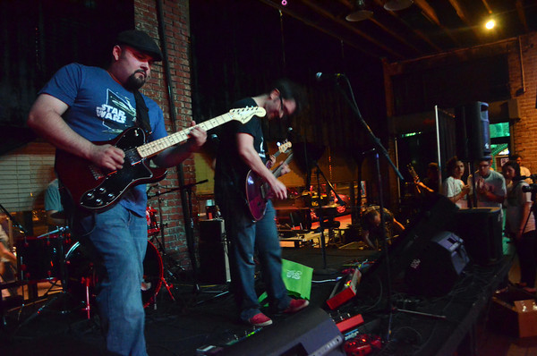 The band Dr. Pants performs at the Brewhouse Thursday during the opening day of the Norman Music Festival.<br /> Transcript Photo by Kyle Phillips