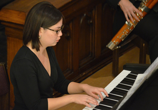 """A member of the  Norman Philharmonics plays the piano as the group plays  a concert Sunday afternoon at McFarlin Memorial United Methodist Church.  The concert that was performed was titled """"A Simple Gift"""".<br /> Kyle Phillips/The Transcript"""