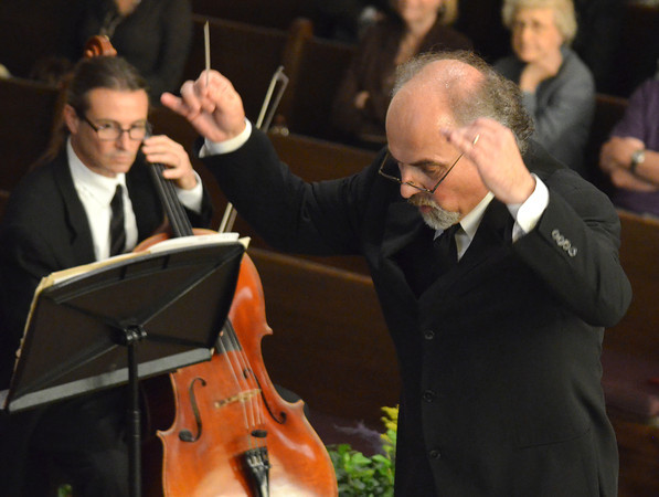 """Music and Artistic Director Richard Zielinski directs the Norman Philharmonics as they play a concert Sunday afternoon at McFarlin Memorial United Methodist Church.  The concert that was performed was titled """"A Simple Gift"""".<br /> Kyle Phillips/The Transcript"""