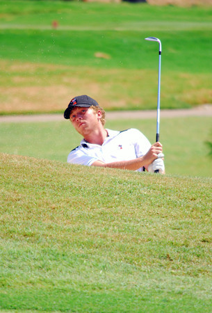 OSU's Talor Gooch watches his ball as he hits out of a sandtrap Thursday during the OGA tournament at Jimmie Austin Golf club. <br /> Kyle Phillips/The Transcript
