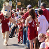 Ou mascot Sooner gets the crowd excited  Saturday during the University of Oklahoma homecoming parade.<br /> Kyle Phillips/The Transcript