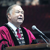 University of Oklahoma President David L. Boren speaks to new OU students Thursday at the Lloyd Noble Center during the New Sooner Convocation. Kyle Phillips/The Transcript