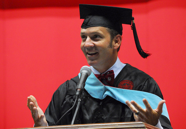Clarke Stroud, OU Dean of Students and Vice President of Student Affairs, introduces University of Oklahoma President David Boren  Thursday at the Lloyd Noble Center during the New Sooner Convocation. Kyle Phillips/The Transcript