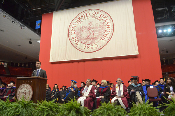 University of Oklahoma President of the Student Association Joe Sangirardi speaks to new OU students Thursday at the Lloyd Noble Center during the New Sooner Convocation.<br /> Kyle Phillips/The Transcript