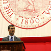 University of Oklahoma President of the Student Association Joe Sangirardi speaks to new OU students Thursday at the Lloyd Noble Center during the New Sooner Convocation. Kyle Phillips/The Transcript