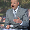 ESPN College GameDay commentator  Kirk Herbstreit discusses the OU/Notre Dame game Saturday as the show broadcasts from the south oval on the University of Oklahoma Campus.<br /> Kyle Phillips/The Transcript