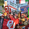 College football fans pack the south oval Saturday as they watch the live broadcast of ESPN's College GameDay before Oklahoma's game against Notre Dame in Norman.<br /> Kyle Phillips/The Transcript