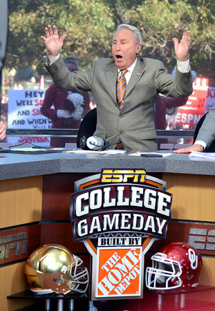 College GameDay commentator Lee Corso make his prediction of winners in the weekend's college football games Saturday as the show broadcasts from the south oval on the University of Oklahoma Campus.<br /> Kyle Phillips/The Transcript